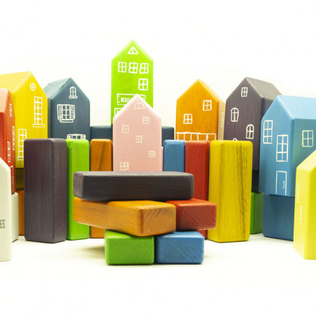 Деревянный конструктор кубики Город