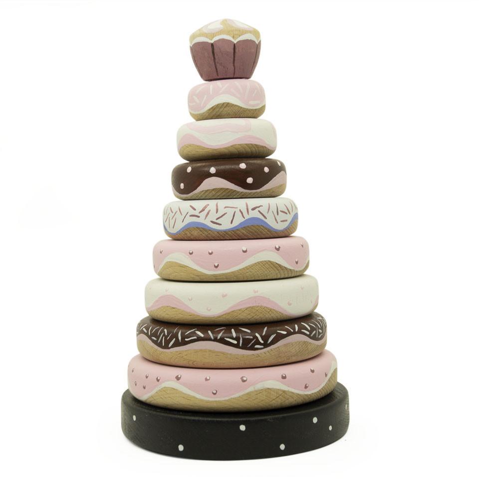 Деревянная пирамидка пончики