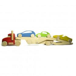 Деревянный автовоз - тягач с прицепом и тремя машинками