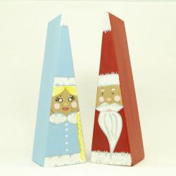 Снегурочка и Дедушка Мороз выполненные в минималистичном стиле