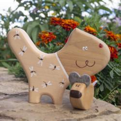 Деревянные фигурки кота и мышки