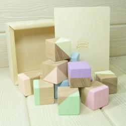 Кубики буковые пастельные в...